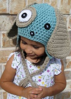 Blue Puppy Crochet Knit Hat for Children by ChitlinDesign on Etsy, $28.00