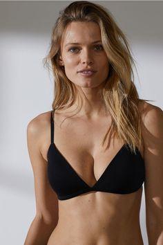 72fd382c960 2-pack non-wired cotton bras - Black Beige - Ladies