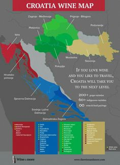 Neat little Infographic by Wine&More highlighting the growing areas of Croatia and what grape types you can find there. There's a lot of wines to try! Guide Vin, Wine Guide, Grape Types, Dubrovnik, Wine Folly, Best Red Wine, Wine Vineyards, Wine Education, Italian Wine