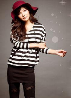 Stylish Stripes Patterns Bat Sleeve Colormatching Dress For Women (BLACK) | Sammydress.com