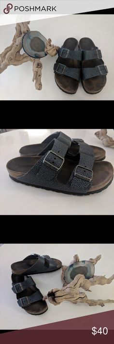 Birkenstock women's Arizona soft footbed size 39 Used condition Birkenstock Arizona Women's 8-8.5 euro 39  Blue iridescent pebbled leather/ made in Germany Soft footbed / 2 strap  Pewter buckles Narrow width (US A-B width) Birkenstock Shoes Sandals