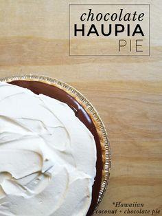 Freckles in April: Recipe: Chocolate Haupia Pie - Berny Minchinton Chocolate Haupia Pie Recipe, Chocolate Desserts, Chocolate Pudding, Chocolate Cheesecake, Hawaiian Dessert Recipes, Hawaiian Dishes, Maui Recipe, Just Desserts, Delicious Desserts