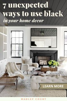Learn 7 unexpected ways to use black paint, black wallpaper, or black fixtures in your home decor for a chic, sophisticated look, as shown in this elegant black and white living room with tons of texture and contrast. Take your design to a new level with black paint or a black fixtures, as shown here. Check out the home decor and interior design projects using black that inspire us the most on Hadley Court. #blackisback #blackpaint #blackwallpaper Black And White Living Room, White Living Room, Traditional Style Homes, Hot Pink Room, Black And White Decor, Monochromatic Room, Best Interior Design, White Home Decor, Home Design Blogs