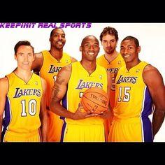 NBA:  Los Angeles Lakers  Kobe Bryant,Dwight Howard,Metta World Peace,Pau Gasol and Steve Nash