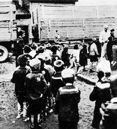 Children leaving the Lodz ghetto during the deportations. They would have been gassed upon arrival at Chelmo death camp, usually within 24 hours of leaving the ghetto.