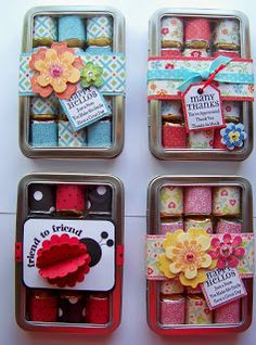 Hershey nugget candies covered with scrapbook paper, tin box & decorated band with tag - cute & inexpensive gift. Food Gifts, Craft Gifts, Diy Gifts, Candy Crafts, Paper Crafts, Lady Bug, Hershey Nugget, Craft Show Ideas, Craft Fair Ideas To Sell