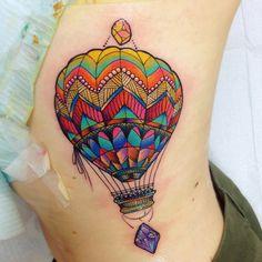 Tattoo portfolio - Tattoos by Katie Shocrylas Mini Tattoos, Body Art Tattoos, Sleeve Tattoos, Tatoos, Air Balloon Tattoo, Hot Air Balloon, Pretty Tattoos, Beautiful Tattoos, Tatuagem New School