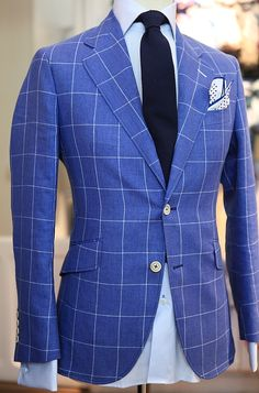 Blue windowpane plaid blazer. Love the fit. Now just switch the botton side.
