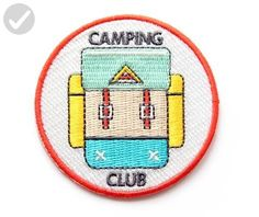 Embroidered Sew or Iron-on Backing Patch Yoga Space Explorer Time Traveler Camp Galaxy Planet Bear Bike Camera (Camping Club) - Dont forget to travel (*Amazon Partner-Link)
