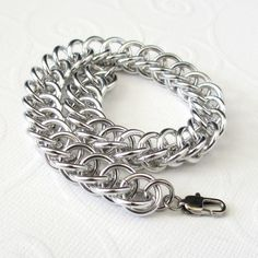 Unisex silver aluminum chain mail bracelet by TattooedAndChained, $30.00
