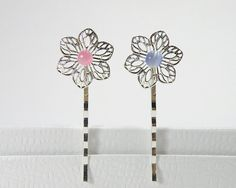 ONE Bobby Pin Silver Tone Filigree Flower with by BeadsforBunnies, $2.00