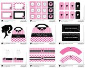 Hot Pink Barbie Party Complete Set, Digital, DIY, Printable