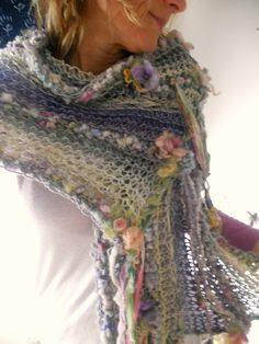 lightweight handknit artyarn wrap shawl scarf by beautifulplace, $135.00