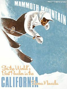 Mammouth Mt. Best Powder Skiing Sierra Nevada Vintage Style 9x12 Wood Sign