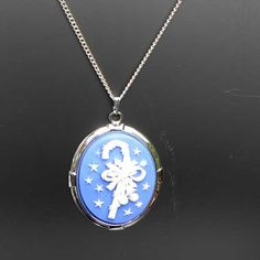 Blue candy cane cameo necklace from Susie Carol jewellery