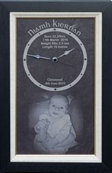 Shop custom designed christening or birth clock personalized with baby's photo and special message from our Irish gift online shopping store