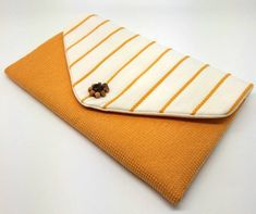 Yellow Envelope Clutch Bag Coin Purse Wallet Mustard Beads White Stripe Gift for Women Cotton Magnetic Snap Leather Notebook, Leather Books, Leather Journal, Coin Purse Wallet, Clutch Bag, Coin Purses, Handmade Bags, Handmade Bracelets, Leather Jewelry