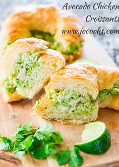 Avocado Chicken Croissants – a refreshing avocado chicken salad with lime, red… Avocado Chicken Croissants – a refreshing avocado chicken salad with lime, red onions and cilantro over delicious croissant. Croissants, Avocado Chicken, Chicken Salad, Cooked Chicken, Avocado Egg, Lunch Recipes, Cooking Recipes, Healthy Recipes, Picnic Recipes