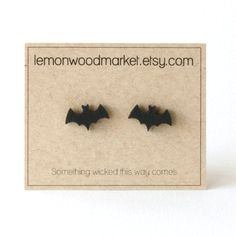 Something wicked this way comes!  These Halloween bat earring studs measure about 1/2 tall and are mounted on hypoallergenic stainless steel