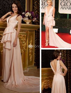 Gorgeous Champagne Silk Like Deep V-neck Short in Front Long in Back Evening Golden Globe Dress. Show off some skin and a whole lot of leg in this sexy, sultry red carpet-inspired dress. It features wide straps, a deep V neckline and a stunning bow design on the hip with a jeweled brooch accent. The bow design creates .. . See More Golden Globe Dresses at http://www.ourgreatshop.com/Golden-Globe-Dresses-C903.aspx