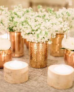 Copper, white and birch centerpieces
