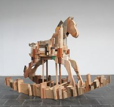 """""""Parallax"""" - Scrap wood rocking horse by Lynette Bester. Collage Sculpture, Painting Collage, Horse Sculpture, Wood Rocking Horse, Sand Crafts, Art And Architecture, Art Blog, Art For Sale, Wood Art"""