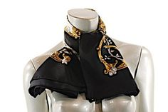 "WATHNE WATHNE Black/Cream/Browns 100% Silk 'Wildlife' Theme scarf - 35"" x 35.5"" w/Box"
