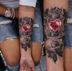 Black/ white rose tattoo, red diamond heart