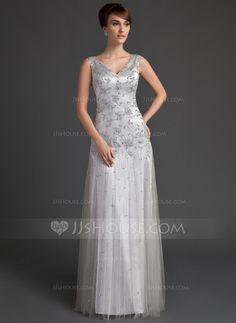 Mother of the Bride Dresses - $176.99 - A-Line/Princess V-neck Floor-Length Tulle Charmeuse Mother of the Bride Dress With Lace Beading Sequins (008005647) http://jjshouse.com/A-Line-Princess-V-Neck-Floor-Length-Tulle-Charmeuse-Mother-Of-The-Bride-Dress-With-Lace-Beading-Sequins-008005647-g5647