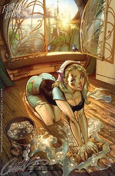 Disney Cinderella re-imagined by J. Scott Campbell.