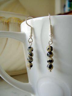Dalmation Jasper earrings, taupe earrings, quirky, casual jasper earrings, nickel free earrings, jasper drop earrings, boho stone earrings.  Handmade in the UK by CalicoRoseStudio  £8.95