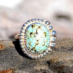 Turquoise Ring - Genuine Turquoise Ring - Spiderweb Turquoise Ring - Sterling Silver Ring - Silver Turquoise Ring - Southwestern Ring by EarthsBountyGems on Etsy https://www.etsy.com/listing/227609349/turquoise-ring-genuine-turquoise-ring
