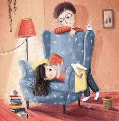 """""""Just a few more pages"""" by Lucy Fleming Girl Reading Book, Reading Art, Reading Books, Anime Gifs, Children's Book Illustration, Magazine Illustration, Cute Drawings, Cute Art, Childrens Books"""