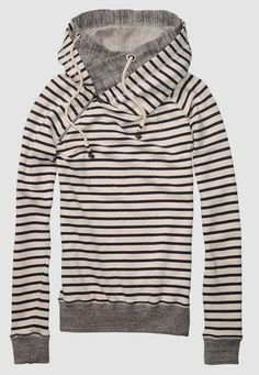 Stripes North Face Hood Fashion // Pair with leopard heels + skinnies