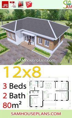 House Plans with 3 Bedrooms Hip roof - Sam House Plans Town House Plans, One Floor House Plans, Little House Plans, Three Bedroom House Plan, House Layout Plans, Dream House Plans, Modern House Plans, Small House Plans, House Layouts
