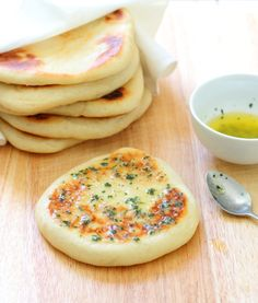 Garlic and Coriander Flatbreads Recipe - Chewy on the outside, soft and fluffy inside, the perfect accompaniment to everything!
