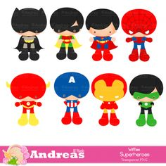 Superheroes -Digital Clipart , Superhero Clipart |