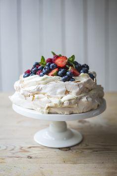 Summer Berry Layered Pavlova | DonalSkehan.com, Perfect summer dinner party dessert!