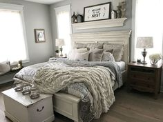 Master Bedroom Makeover Ideas Green - 54 simply farmhouse master bedroom design ideas match for Farmhouse Master Bedroom, Master Bedroom Design, Dream Bedroom, Home Bedroom, Bedroom Designs, Bedroom Wall, Country Chic Bedrooms, Modern Bedroom, Country Modern Decor