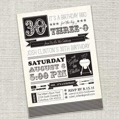 Birthday Party Invitation 30th 40th 50th 60th by CadencePaige. $18.50, via Etsy.
