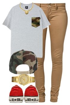 """Gold all in my chain."" by cheerstostyle ❤ liked on Polyvore featuring Monkee Genes, GUESS and Converse"