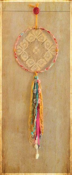Bohemian Spirit Vintage Lace Doily Dreamcatcher by kmichel on Etsy
