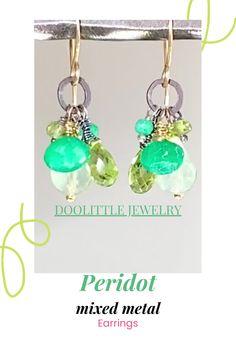 Dainty Earrings, Earrings Handmade, Dangle Earrings, Peridot Jewelry, Gemstone Jewelry, Green Gemstones, Special Deals, Mixed Metals, Gift Cards