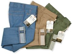 Men's colored Raw Denim Jeans. Vintage Light Blue, Tan and Sage Green.