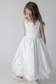 Rosebud White Flower Girl Bridesmaid First Communion Party Dress. available in other colours, please see our website. UK supplier ships worldwide.