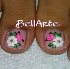 Uñas Pedicure Nail Art, Toe Nail Art, Nail Spa, Cute Pedicure Designs, Toe Nail Designs, Cute Toe Nails, Love Nails, Cute Pedicures, Summer Toe Nails