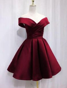 Beautiful Satin Off Shoulder Lace-up Knee Length Bridesmaid Dress Short Homecoming Dress, Best Picture For white Short Dress For Yo Cute Red Dresses, Dama Dresses, Hoco Dresses, Beautiful Dresses, Formal Dresses, Short Elegant Dresses, Sexy Dresses, Cute Dresses For Teens, Wedding Dresses