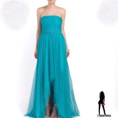 ML Monique Lhuillier Turquoise Strapless Gown 10 From ML Monique Lhuillier, strapless tulle gown in stunning turquoise. Beading by waist. Ruched bodice. Side zip. Includes sheer wrap. Perfect wedding or prom dress. Polyester blend. Size 10. Monique Lhuillier Dresses Strapless