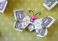aus Geldschein Schmetterling basteln, tolle Idee zum Nachmachen, Geldgeschenke selber basteln