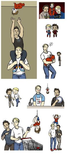 Two and a Half Avengers. I might not be big on the pairing, but it's still cute. In an alternate universe where Peter was put up for adoption after his parents were killed, and Steve and Tony happened to be looking for a son to raise. Stony Avengers, Superfamily Avengers, Spideypool, Marvel Avengers, Stony Superfamily, Funny Marvel Memes, Avengers Memes, Marvel Jokes, Marvel Dc Comics